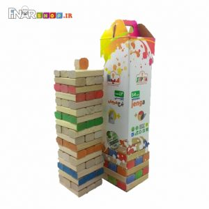 اسباب بازی چوبی برج هیجان رنگی 54 تکه جنگا